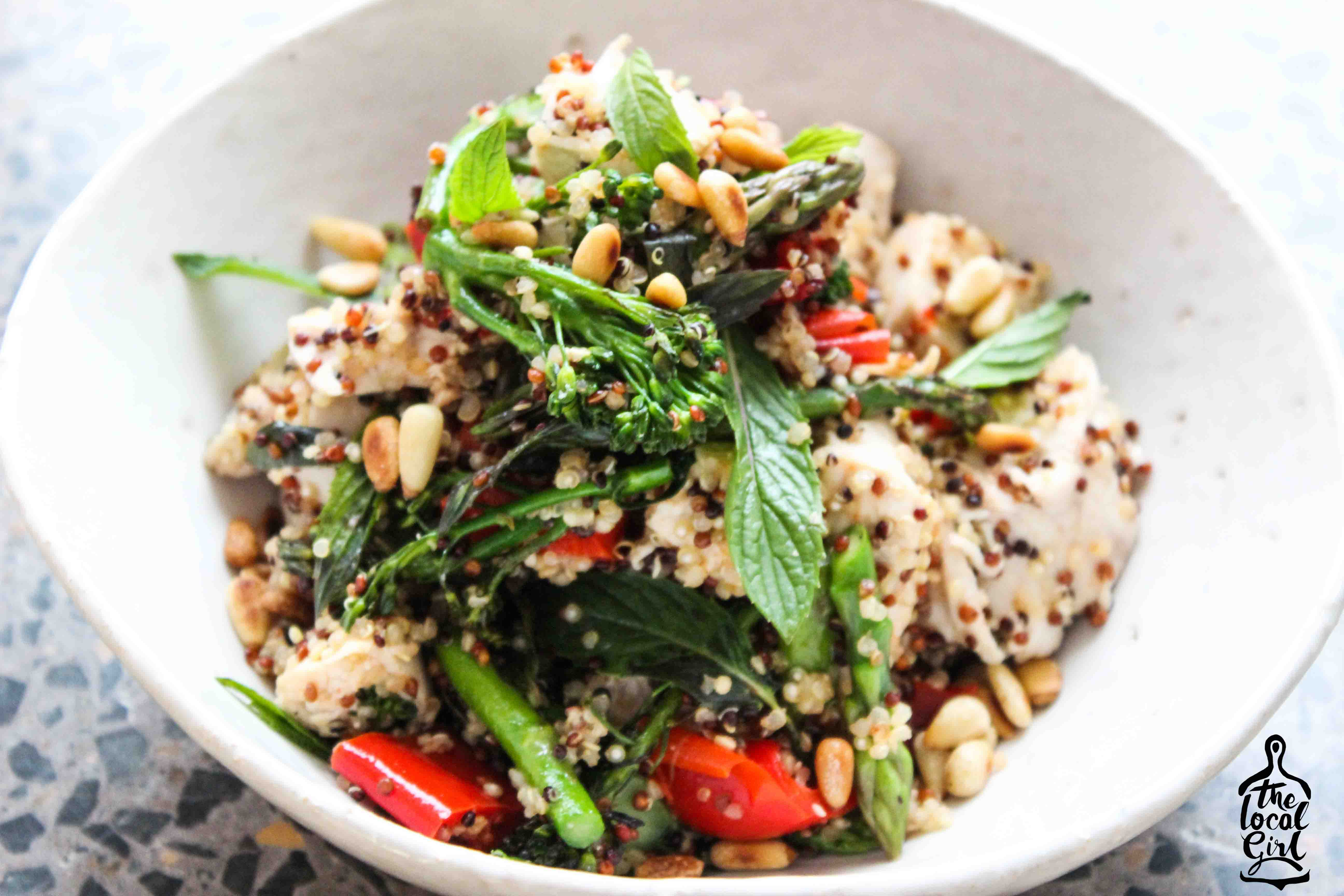 Coconut Poached Chicken, Roasted Capsicum, Mint and Quinoa Salad ...