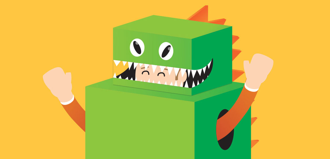 DIY cardboard box monsters